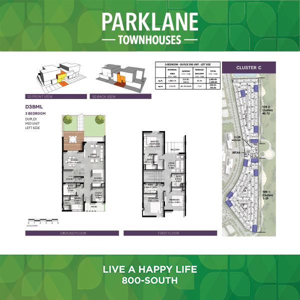 3 Bedroom D3bml Parklane Townhouses