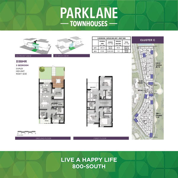 3 Bedroom D3bmr Parklane Townhouses