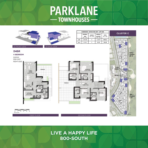 3 Bedroom D4bl Parklane Townhouses