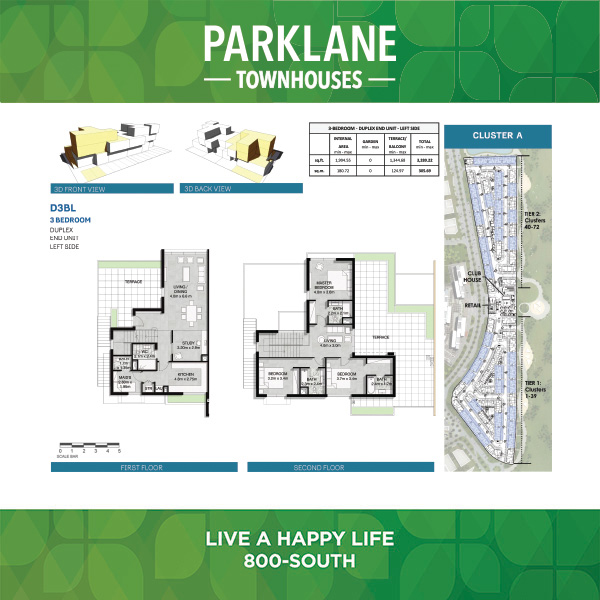 3 Bedroom Duplex D3bl Parklane Townhouses