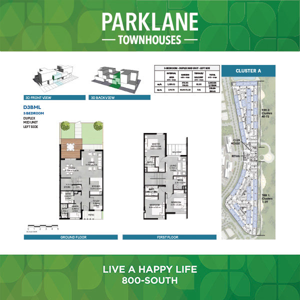 3 Bedroom Duplex D3bml Parklane Townhouses