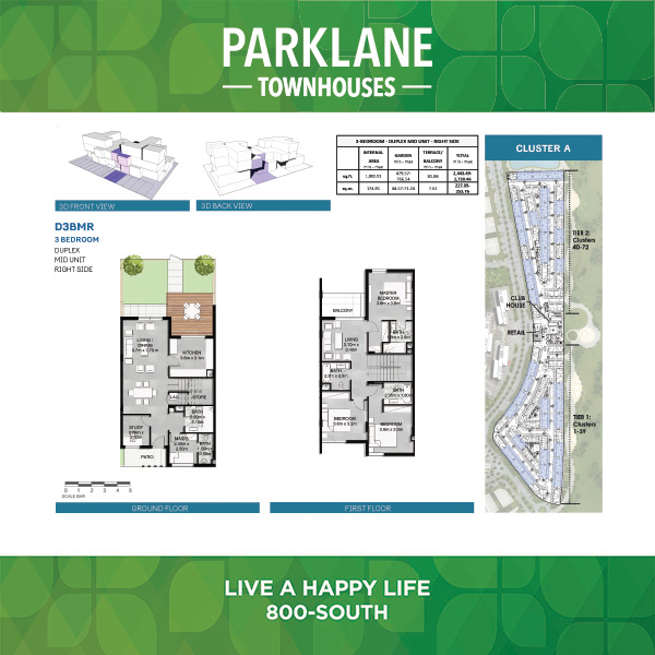 3 Bedroom Duplex D3bmr Parklane Townhouses