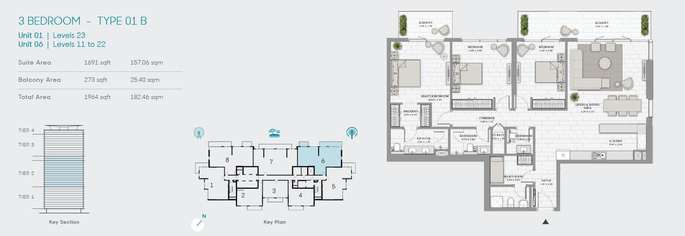 3 Bedroom Type 01 B Unit 1 1964sqft