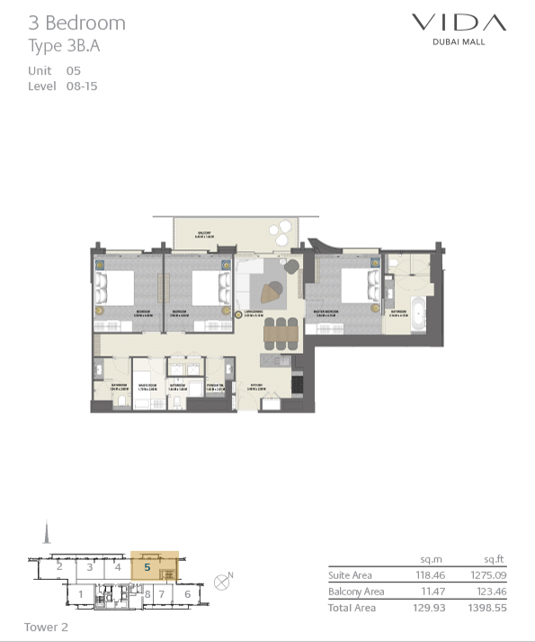 Vida Dubai Mall Floor Plan