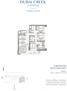 3-Bedroom-With-Balcony-Tower-1-Unit-3-Levels-3-17,19-30-1490-SqFt