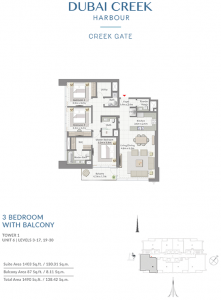 3-Bedroom-With-Balcony-Tower-1-Unit-6-Levels-3-17,19-30-1490-SqFt