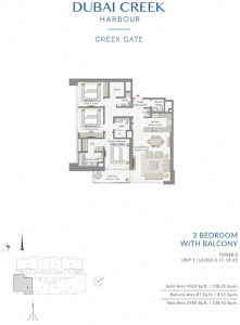 3-Bedroom-With-Balcony-Tower-2-Unit-3-Levels-3-17,19-22-1490-SqFt