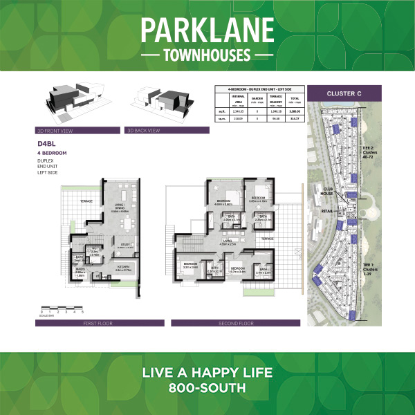 4 Bedroom D4bl Parklane Townhouses