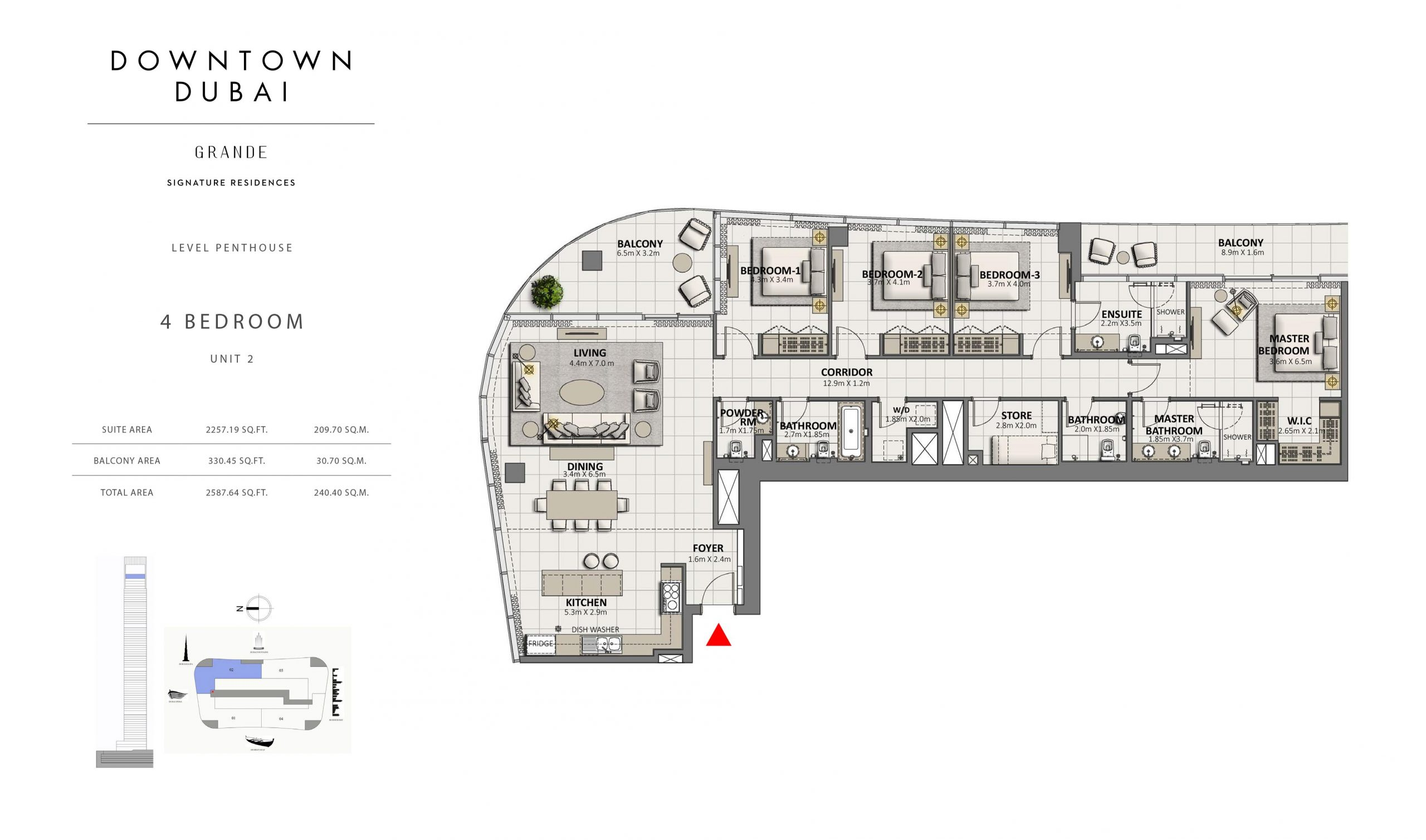 Four Bedroom Penthouses