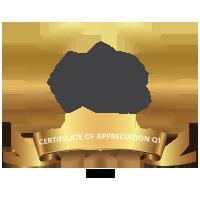 Certificate Of Appreciation Q1 2016