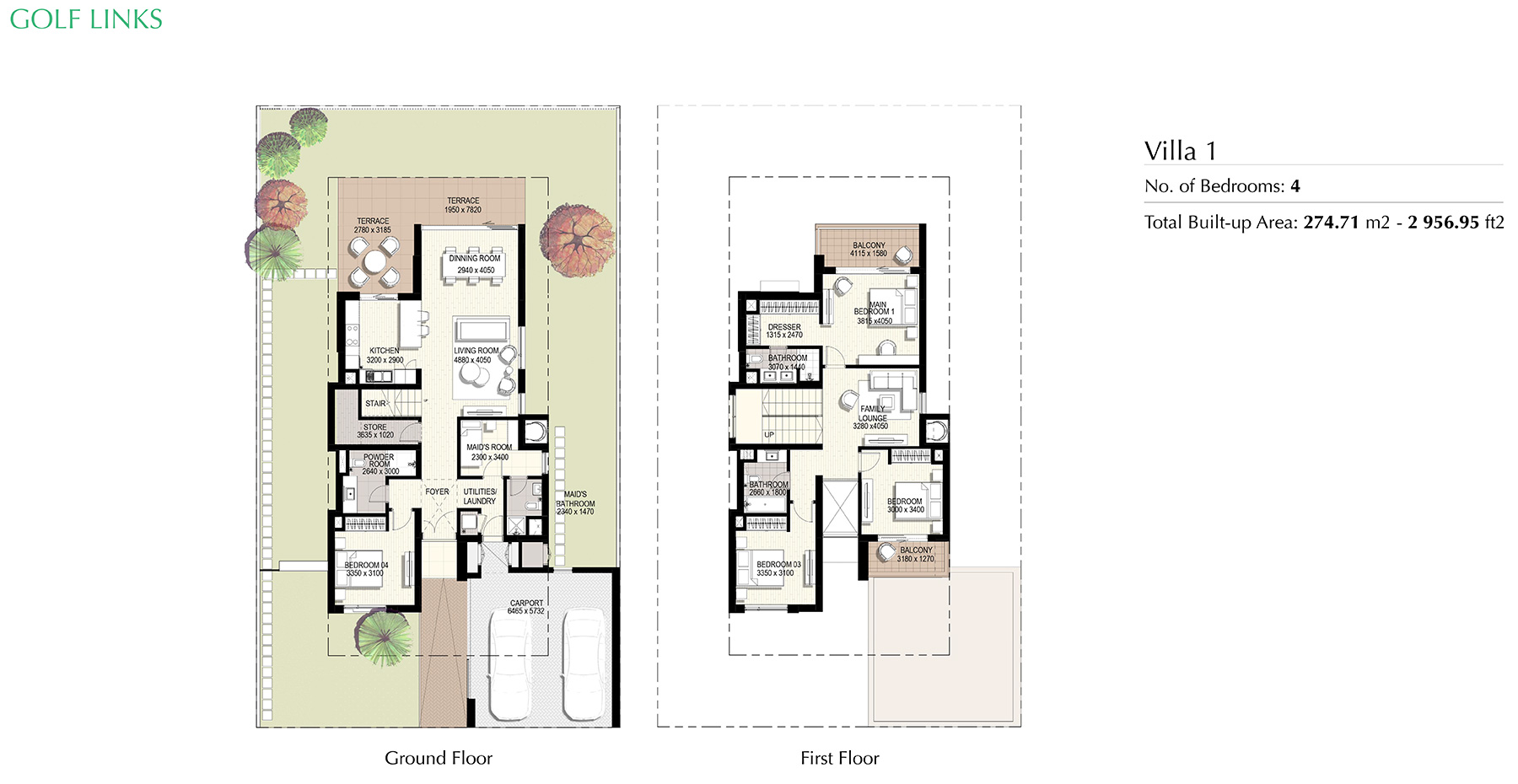 Emaar Golf Links Floor Plan
