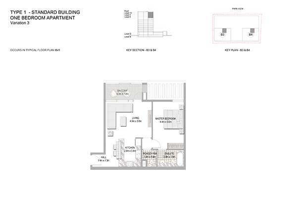 One Bedroom Apartment Standard Building Variation 3