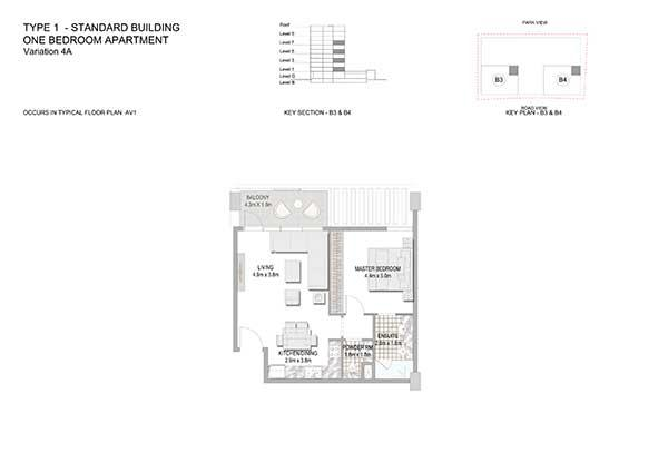 One Bedroom Apartment Standard Building Variation 4a