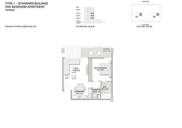 One Bedroom Apartment Standard Building Variation 4b