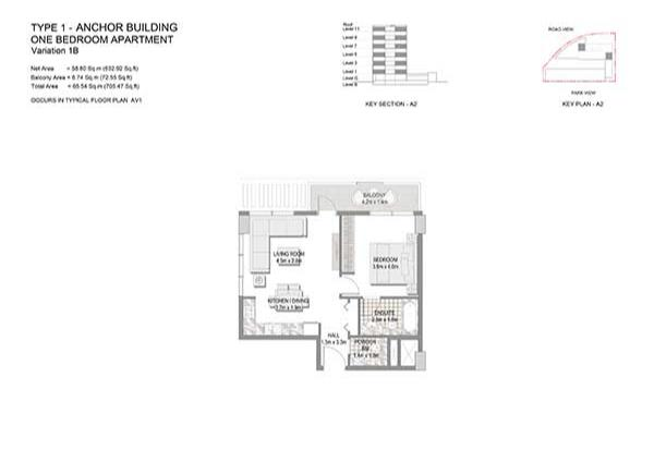 One Bedroom Apartment Type 1 Anchor Building Variation 1b 2