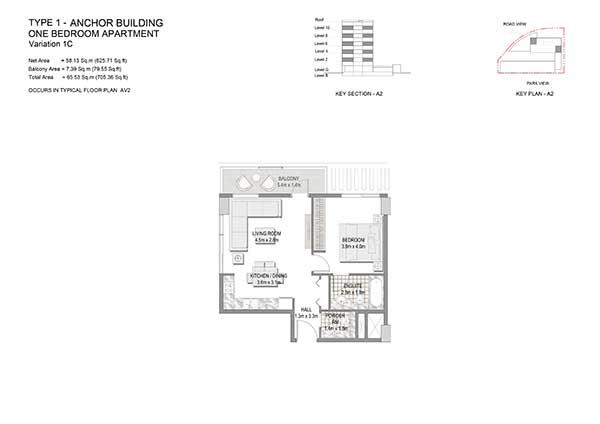 One Bedroom Apartment Type 1 Anchor Building Variation 1c 2
