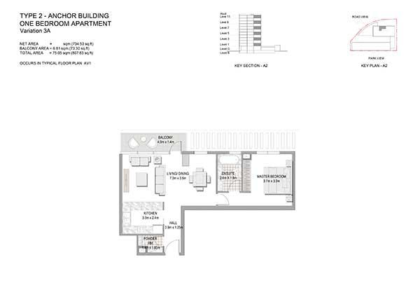 One Bedroom Apartment Type 1 Anchor Building Variation 3a 2