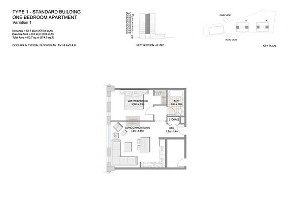 One Bedroom Apartment Type 1 Standard Building Variation 1
