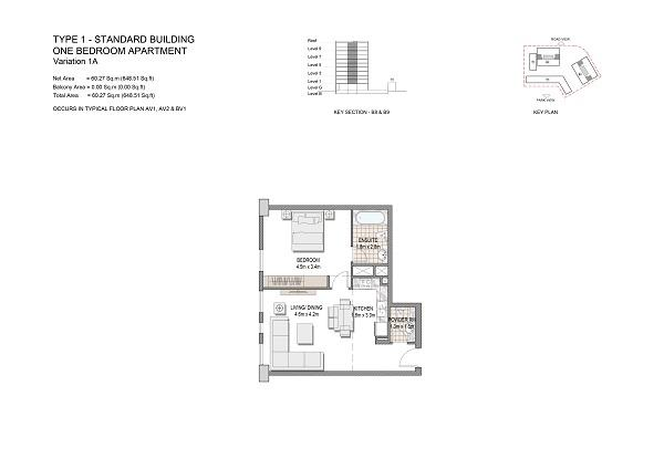 One Bedroom Apartment Type 1 Standard Building Variation 1a