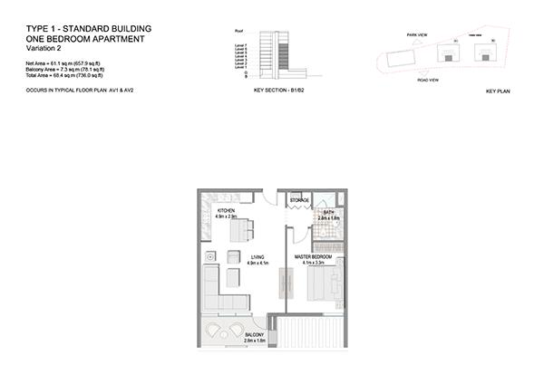 One Bedroom Apartment Type 1 Standard Building Variation 2