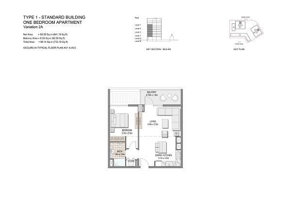 One Bedroom Apartment Type 1 Standard Building Variation 2a