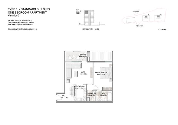One Bedroom Apartment Type 1 Standard Building Variation 3