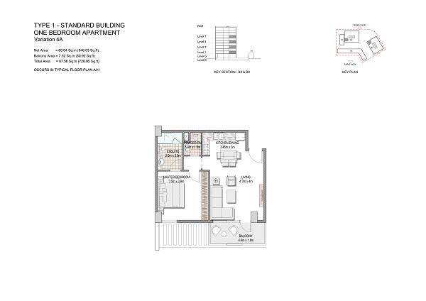 One Bedroom Apartment Type 1 Standard Building Variation 4a