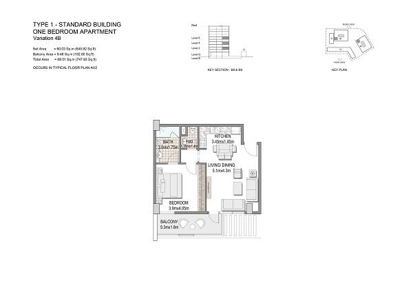 One Bedroom Apartment Type 1 Standard Building Variation 4b
