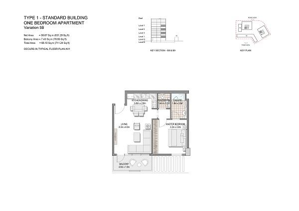 One Bedroom Apartment Type 1 Standard Building Variation 5b