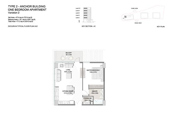 One Bedroom Apartment Type 2 Anchor Building Variation 2