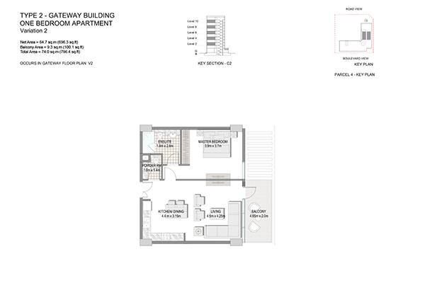 One Bedroom Apartment Type 2 Gateway Building End Unit Variation 2