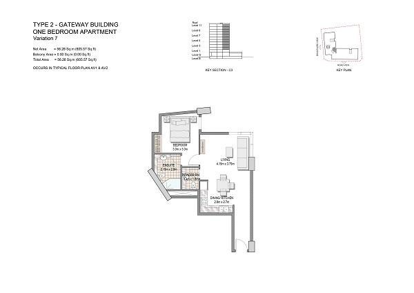 One Bedroom Apartment Type 2 Gateway Building End Unit Variation 7