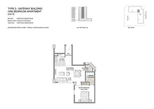 One Bedroom Apartment Type 2 Gateway Building Unit 15