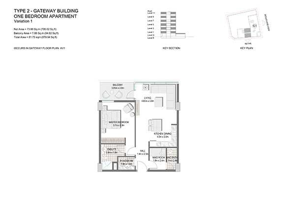 One Bedroom Apartment Type 2 Gateway Building Variation 1 2