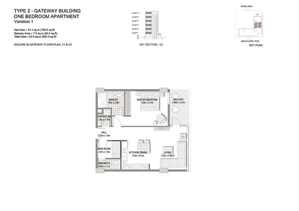 One Bedroom Apartment Type 2 Gateway Building Variation 1