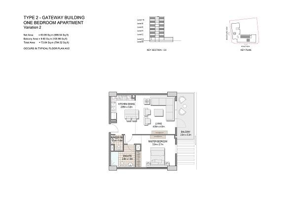 One Bedroom Apartment Type 2 Gateway Building Variation 2