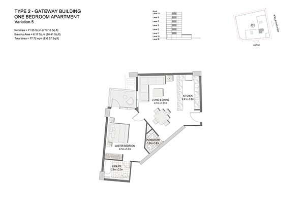 One Bedroom Apartment Type 2 Gateway Building Variation 5 2