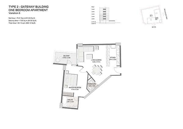 One Bedroom Apartment Type 2 Gateway Building Variation 6 2