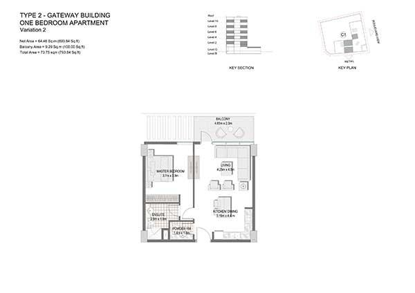 One Bedroom Apartment Type 2 Gateway Building Variation 2 2