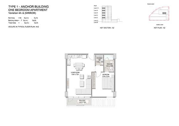 One Bedroom Apartment Type 1 Anchor Building Variation 4a 2