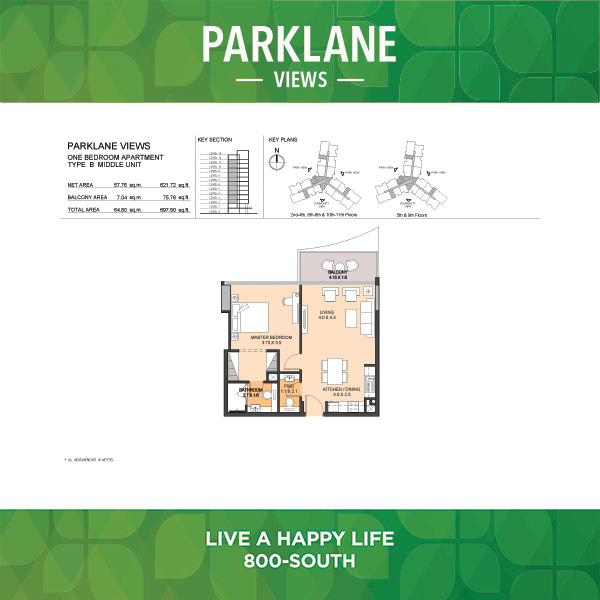 Parklane Views One Bedroom Apartment Type B Middle Unit