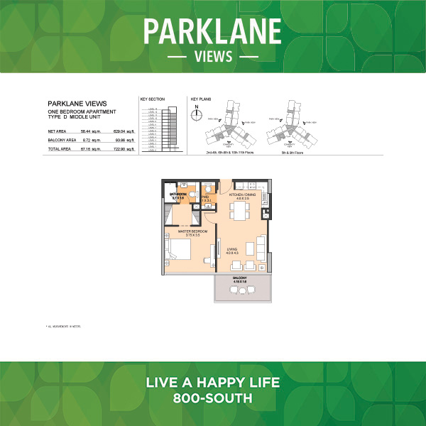 Parklane Views One Bedroom Apartment Type D Middle Unit