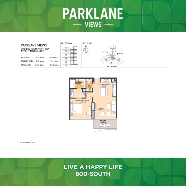 Parklane Views One Bedroom Apartment Type F Middle Unit