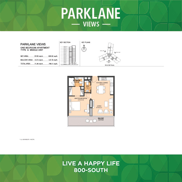 Parklane Views One Bedroom Apartment Type G Middle Unit