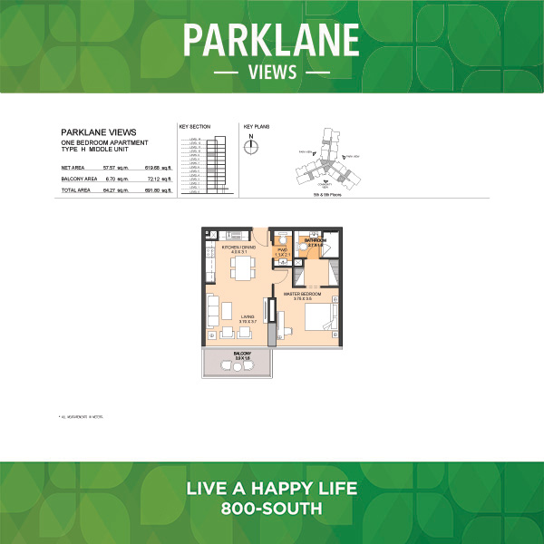 Parklane Views One Bedroom Apartment Type H Middle Unit