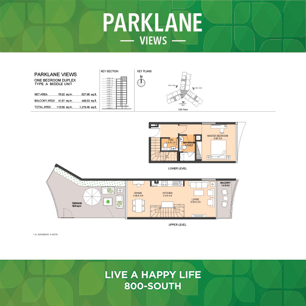 Parklane Views One Bedroom Duplex Type A Middle Unit