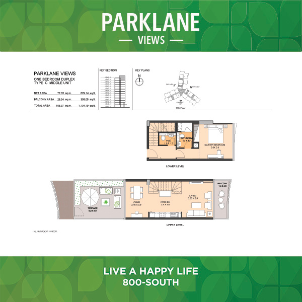 Parklane Views One Bedroom Duplex Type C Middle Unit