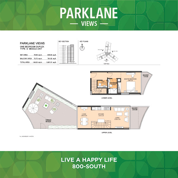 Parklane Views One Bedroom Duplex Type D Middle Unit