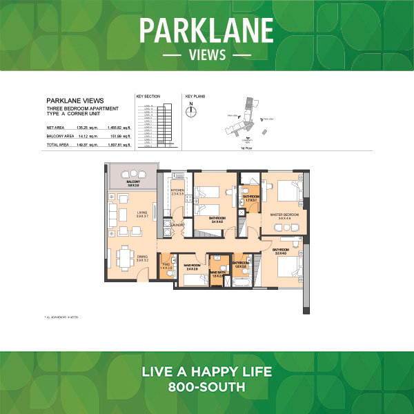 Parklane Views Three Bedroom Apartment Type A Corner Unit