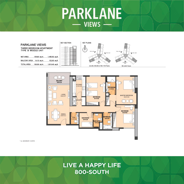 Parklane Views Three Bedroom Apartment Type B Middle Unit